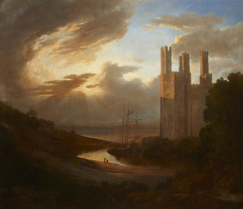 View of Caernarvon Castle with the Menai Strait Follower of Francis Danby - Date unknown
