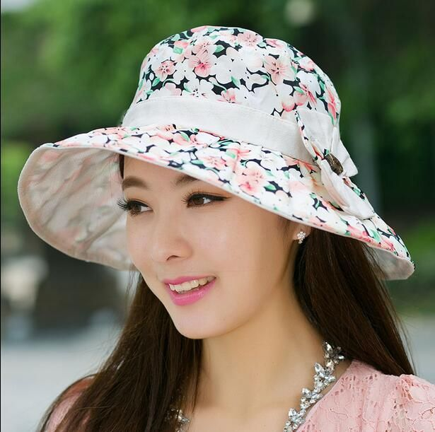 Floral printed bucket hat for spring summer womens flower sun hats package 4604b7fa4135