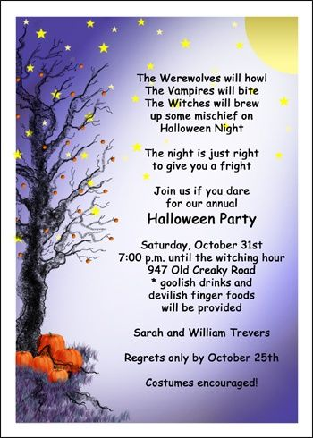 scary invitation wording ideas and samples for halloween party at cardsshoppe