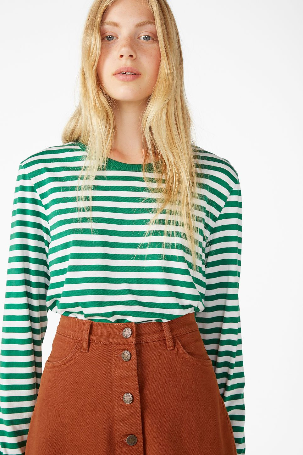 200f1ab1b Monki soft long-sleeved top in green - A long-sleeved striped top with a  ribbed rounded neck and a wide fit. The green and white stripes add to a  classy yes ...
