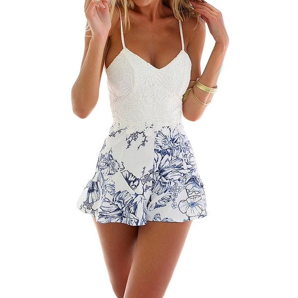 Blue Floral Printed Lace Patchwork Chic Womens Romper (€21) ❤ liked on Polyvore featuring jumpsuits, rompers, romper, outfits, dresses, blue, white romper jumpsuit, white lace rompers, white floral romper and white jumpsuit