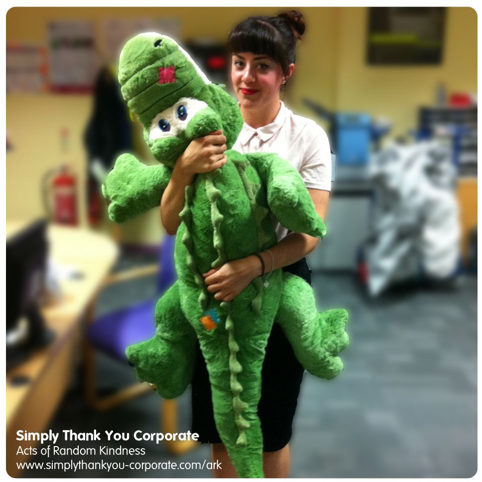 As always, we've had some great Acts of Random Kindness & Gestures of Goodwill requested& delivered this week. Including this giant fluffy crocodile, for perspective being held by Sophie from our ARK Team ==== Find out how we can deliver an ARK scheme for you, www.simplythankyou-corporate.com/ark or call 01325 355165 #happy #smile #ark #businessservice #service #gestures.