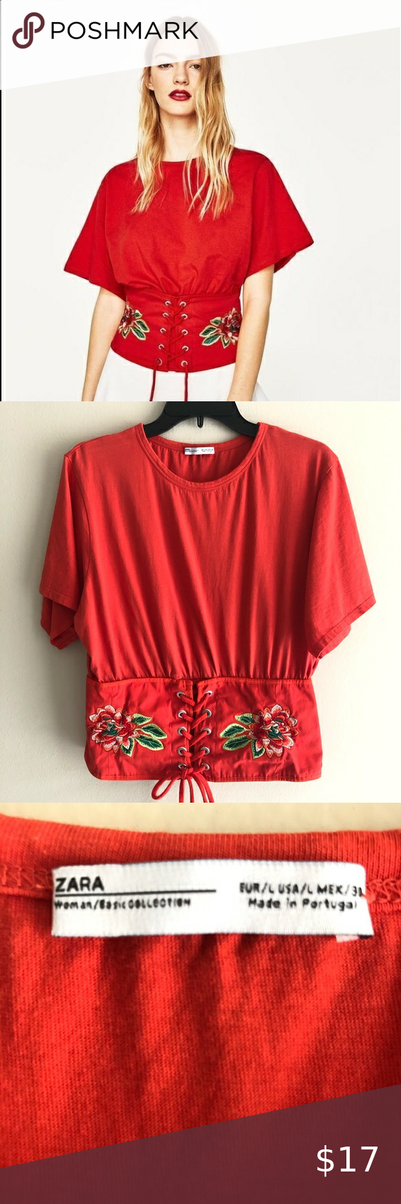 Photo of Zara Orange Embroidered Corset Top Size L In good condition …