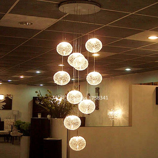 E14 Round Ball Ceiling Lights High Quality Large Long Stair 10