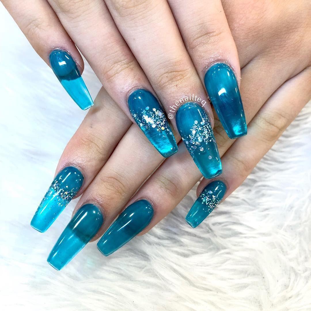 Blue Jelly nails 💙🦋 . . . . . acrylicnails acrylics