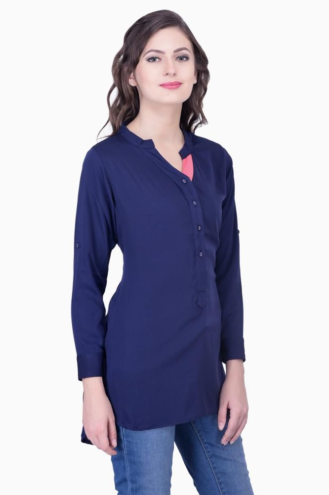 65649a352c4a41 Buy Navy Blue Solid Women Party wear office wear casual wear Tops Tunic  Tunics for Women Online India, Best Prices