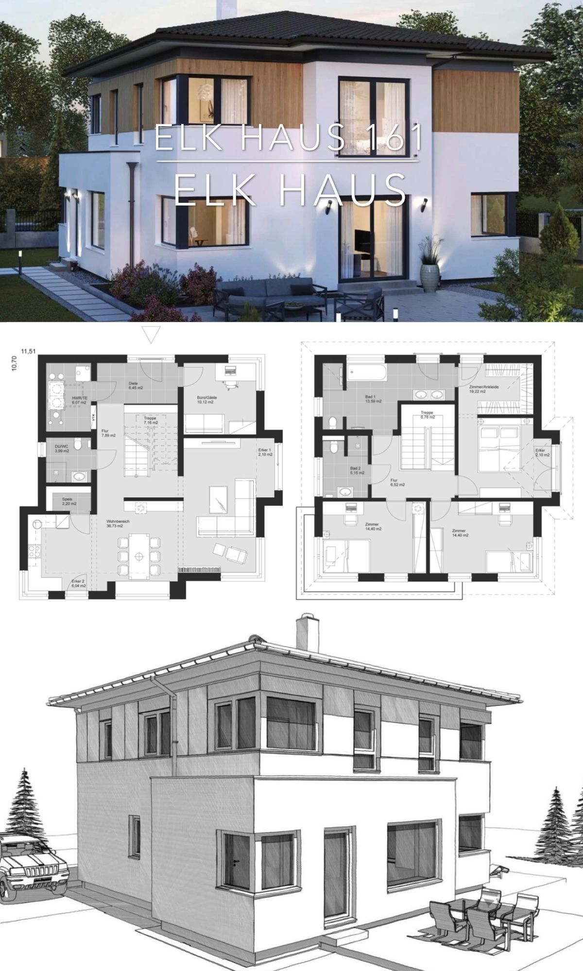 Modern Architecture Design House Plan – ELK Haus 161  – Popular House Plans