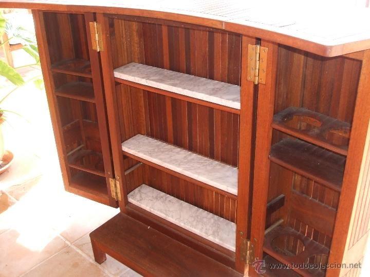 Barra de bar y 2 sillas altas port til madera de teka for Bar hecho en madera