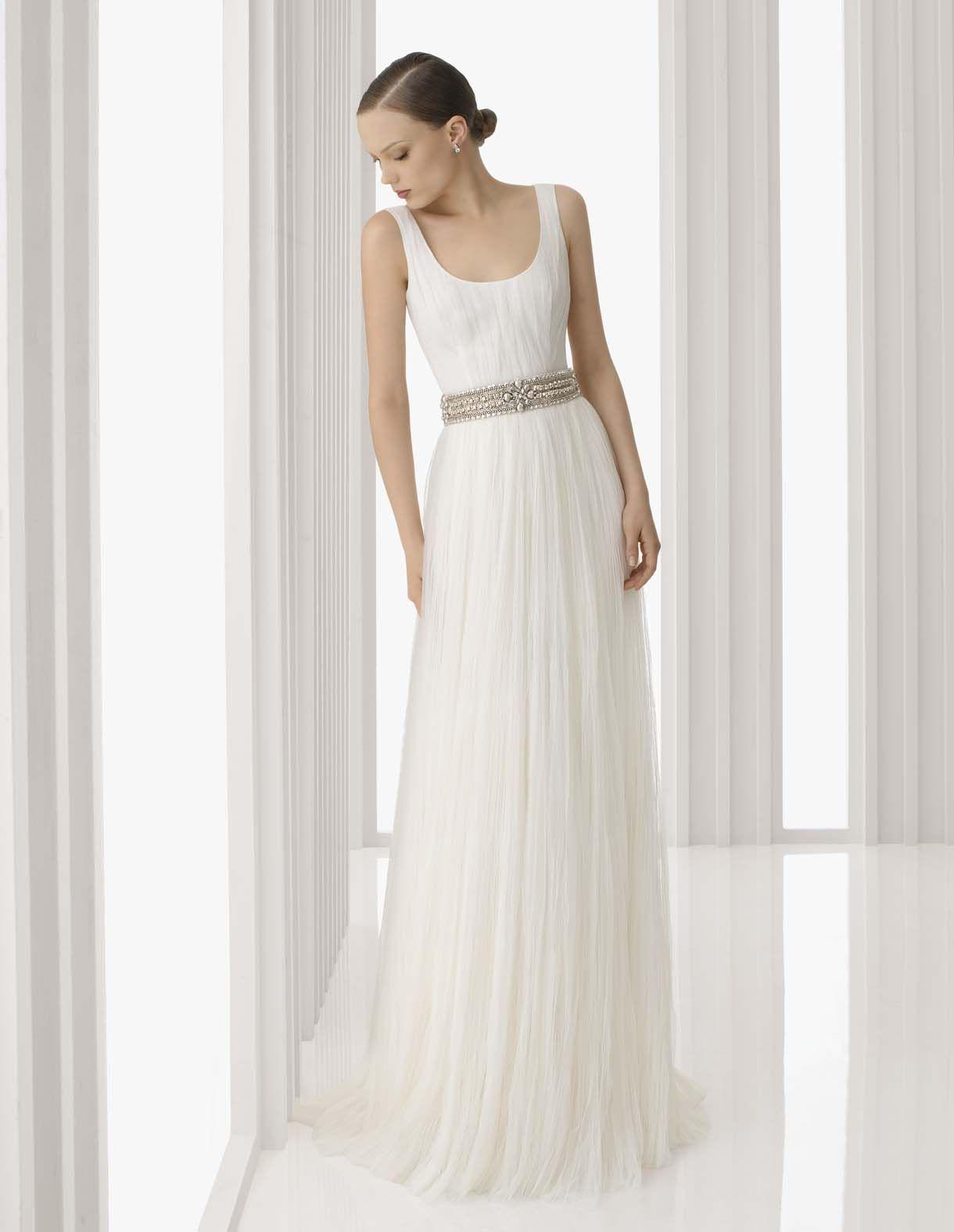 Arte rosa clará simple sheath sleeveless wedding dress with
