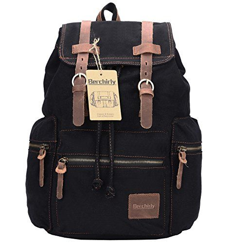 Berchirly Retro Casual Canvas Leather Backpack Rucksack Bookbag Hiking Outdoor Bag -- Find out more about the great product at the image link. Note:It is Affiliate Link to Amazon.