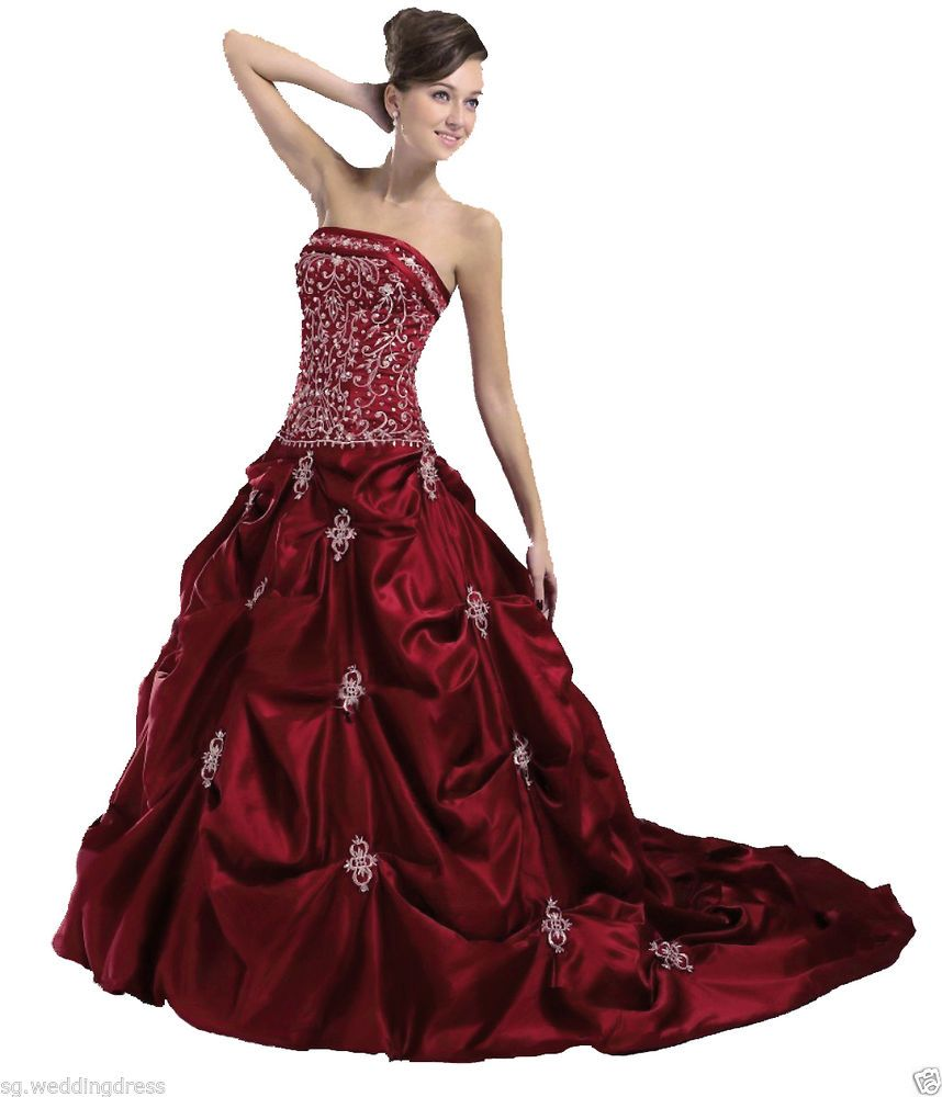 Faironly strapless burgundy wedding dress bridal gown stock size