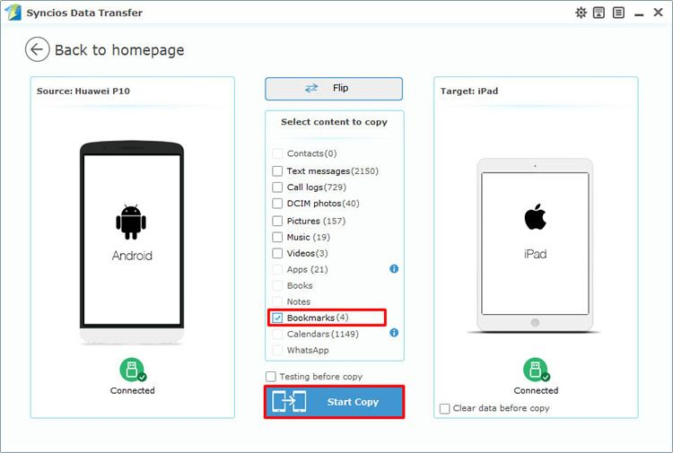 How to transfer bookmarks from android to ipad samsung