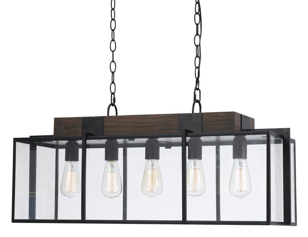 Cal Lighting FX-3582-5 Antonio 5 Light Chandelier Dark Bronze / Wood Indoor Lighting Chandeliers
