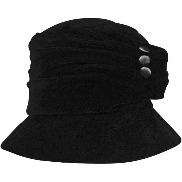 fb096df0853 Black Velvet Bucket Hat With Button Trim (1.400 RUB) ❤ liked on Polyvore  featuring