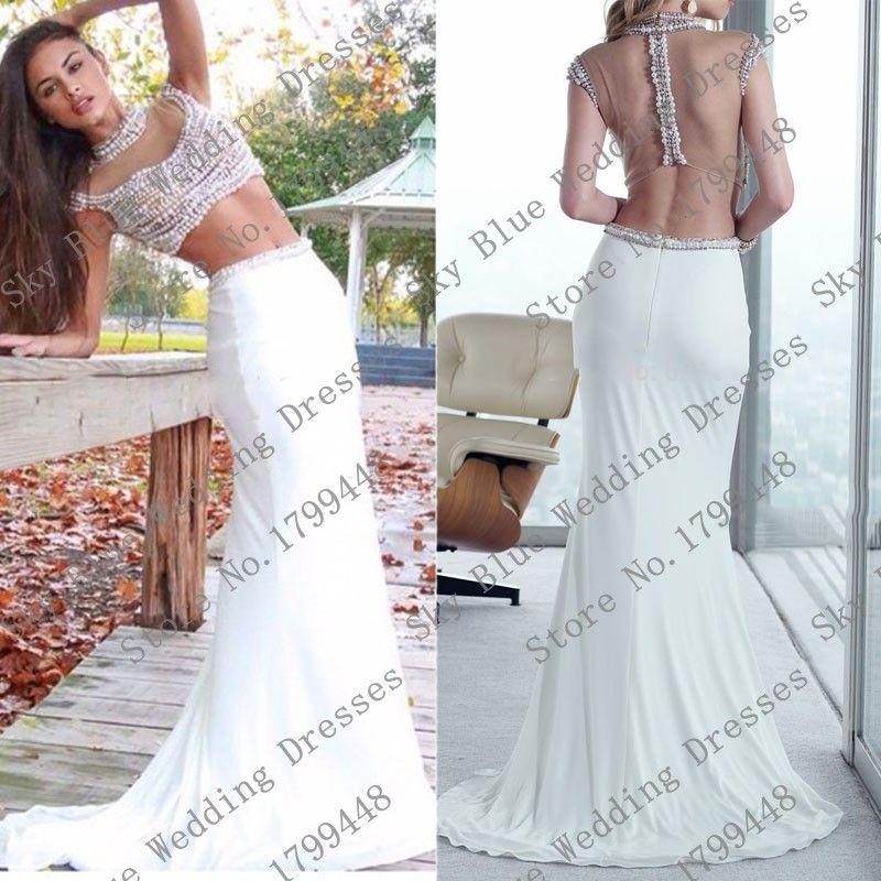 New High neck Beaded With Pearls Sheath Two Piece Prom Dresses 2015 ...