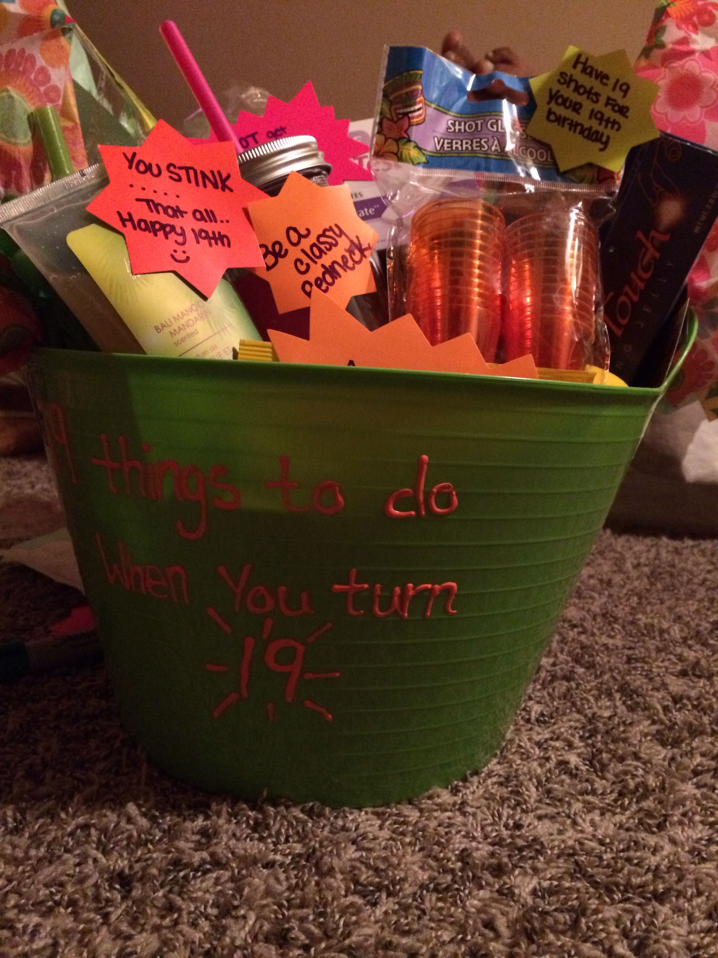 A 19th Birthday gift basket made with 19th things; We