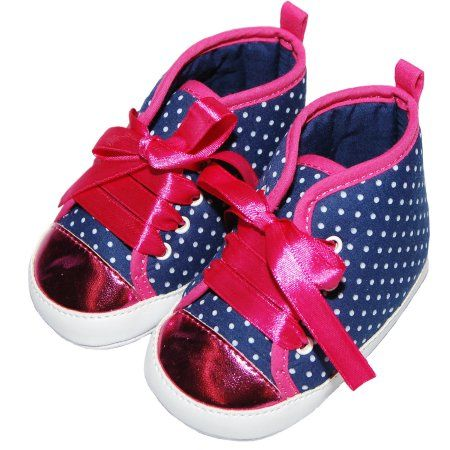 Child of Mine by Carter's Newborn Baby Girl Dot Printed Hightop Sneakers, Size: 0 - 3 Months, Blue