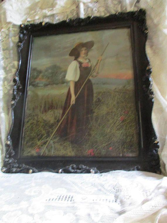 Antique Ornate Ebonized Gesso Framed Victorian Farm Girl In Field ...