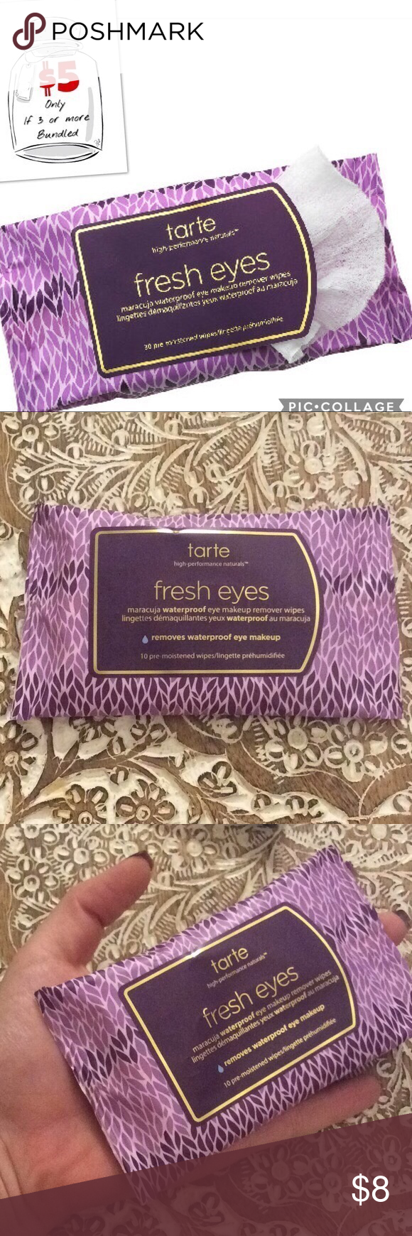 New TARTE Fresh Eyes Eye Makeup Remover Wipes Brand new 10