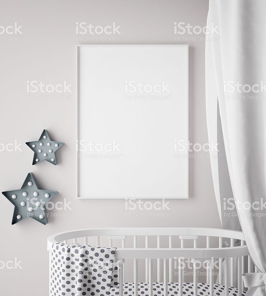 mock up poster frame in children room, scandinavian style interior ...