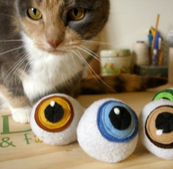 Catnip Eyeballs Cat Toy Ball Plush Recycled Materials Best Interactive Cat Toys Cool Cat Toys Cat Toys