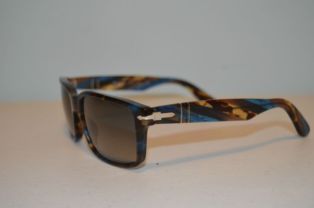 8ffbd3fe39 PERSOL 3067-S 973 71 Blue and Brown with Silver Accents Unisex Sunglasses-BN   Persol  Rectangular