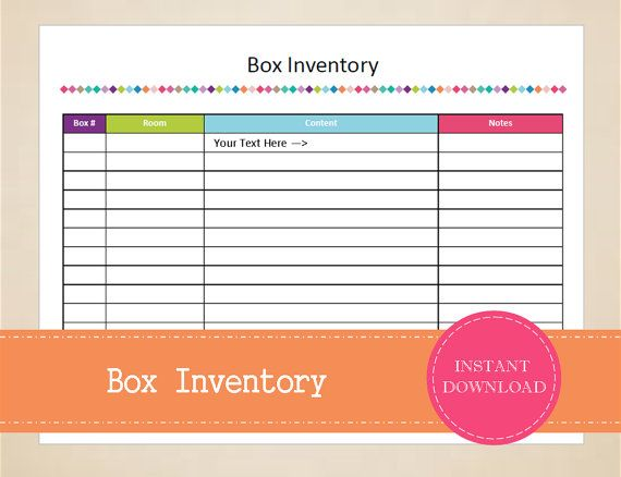 Box Inventory  Packing Planner  Moving Planner  Inventory