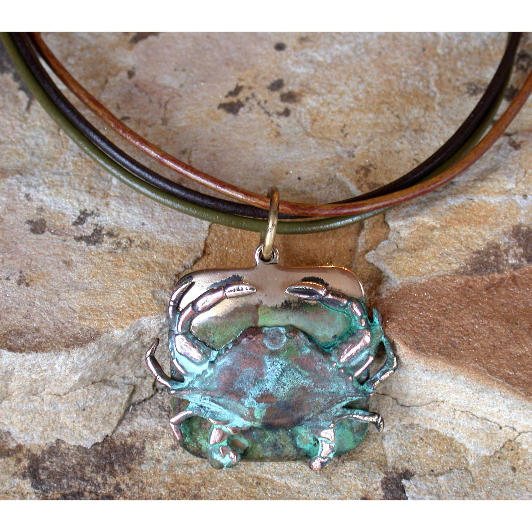 Perfect Handmade Verdigris Patina Brass Etched Crab Pendant On Tri Color Rawhide By  Elaine Coyne