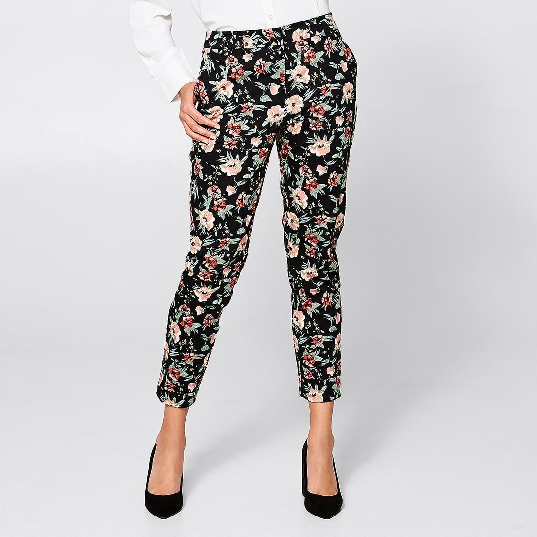Slim 7/8 Sateen Pants Floral Print Pants, Holiday
