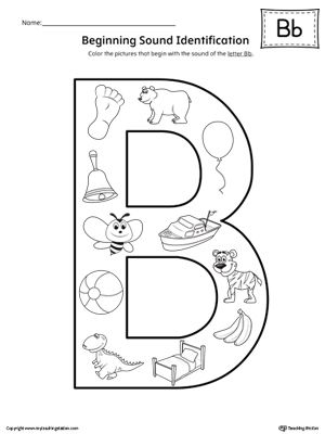 Letter B Beginning Sound Color Pictures Worksheet ...