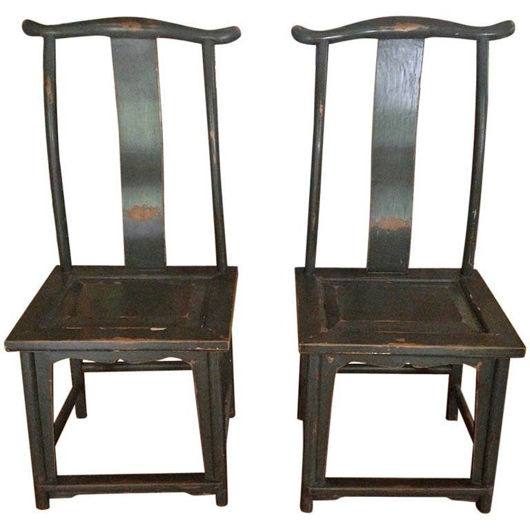 For Sale on - Pair of classically inspired Chinese yoke-back chairs with age-gentled grey patina.  sc 1 st  Pinterest & Pair of Chinese Yoke-Back Painted Wood Side Chairs | Side chair ...