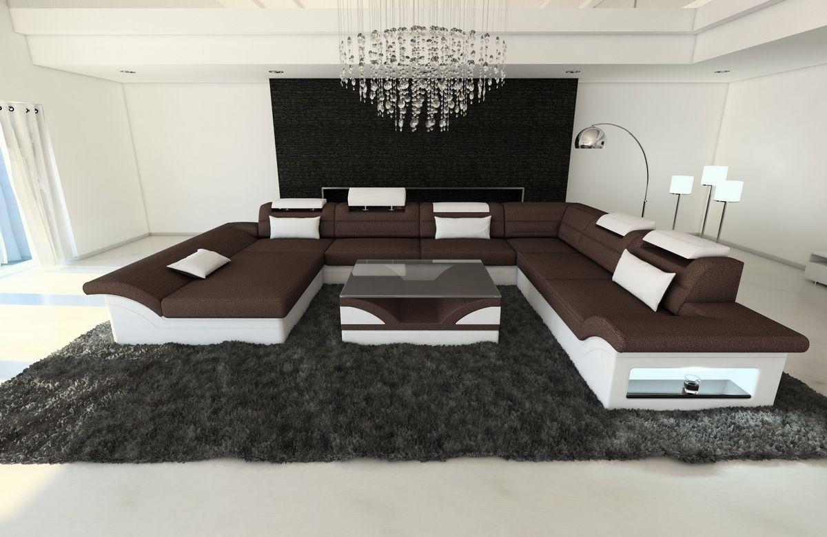 Stoff Wohnlandschaft Enzo Xxl Kanape Couch Es Sofa