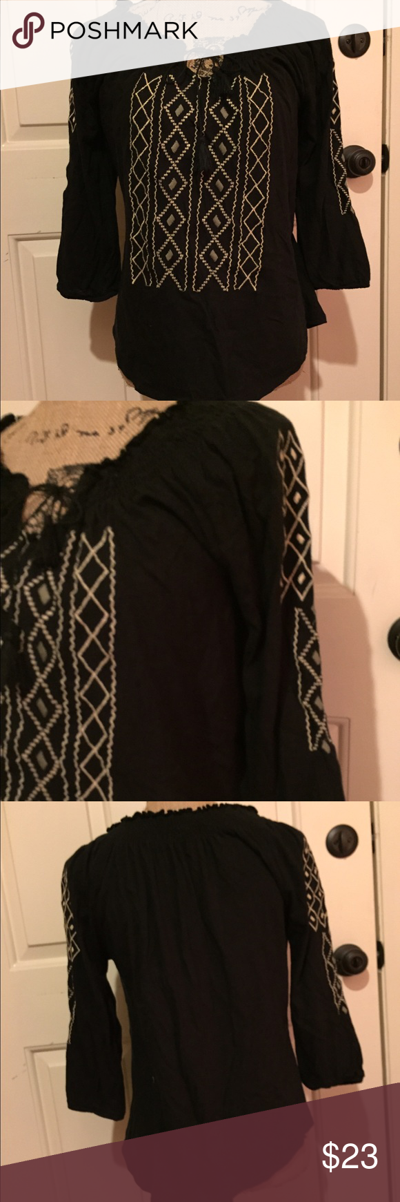 🆕 Lucky Brand boho blouse This is super cute! Keyhole loop in front. Super comfy. 👺NO TRADES DONT ASK! ✌🏼️Transactions through posh only!  😻 friendly home 💃🏼 if you ask a question about an item, please be ready to purchase (serious buyers only) ❤️Color may vary in person! 💗⭐️Bundles of 5+ LISTINGS are 5️⃣0️⃣% off! ⭐️buyer pays extra shipping if likely to be over 5 lbs 🙋thanks for looking! Lucky Brand Tops Blouses