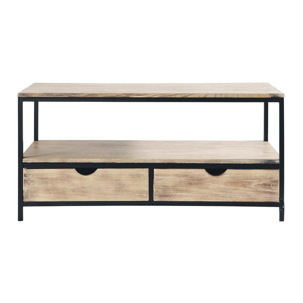 meuble tv indus en sapin massif et m tal d co. Black Bedroom Furniture Sets. Home Design Ideas