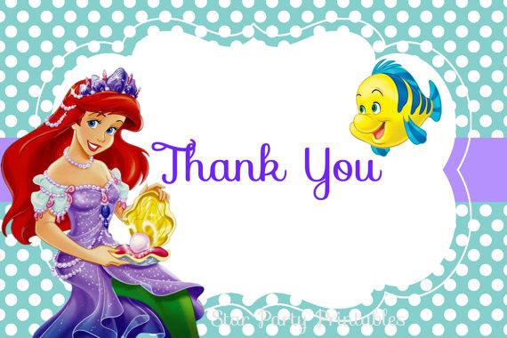 Ariel Thank You Card Little Mermaid Birthday Princess Little Mermaid Thank You Card Blank Disney Little Mermaid Mermaid Thank You Card