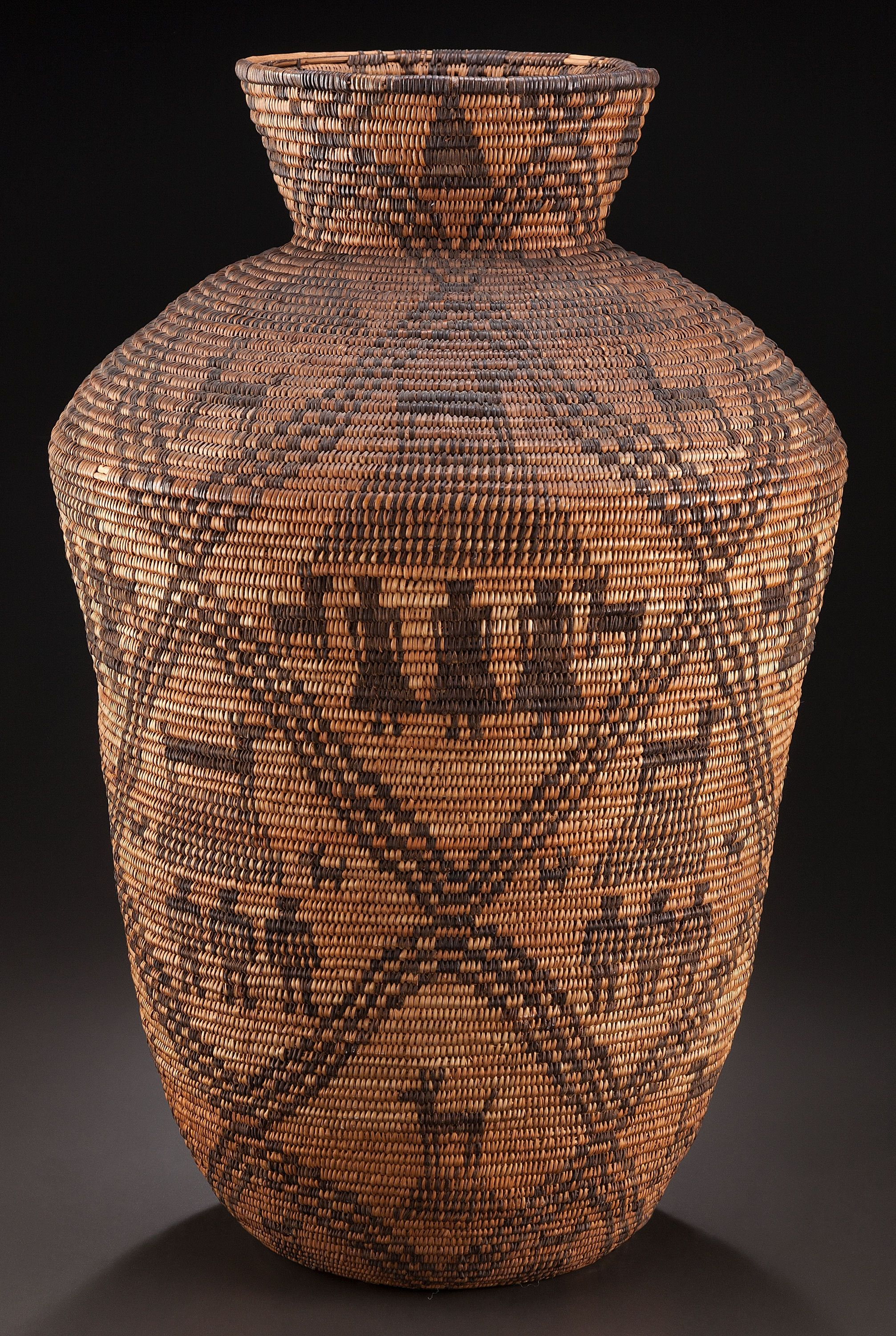 "Unknown Apache artist, Basketry olla, c. 1900, 25"" tall"