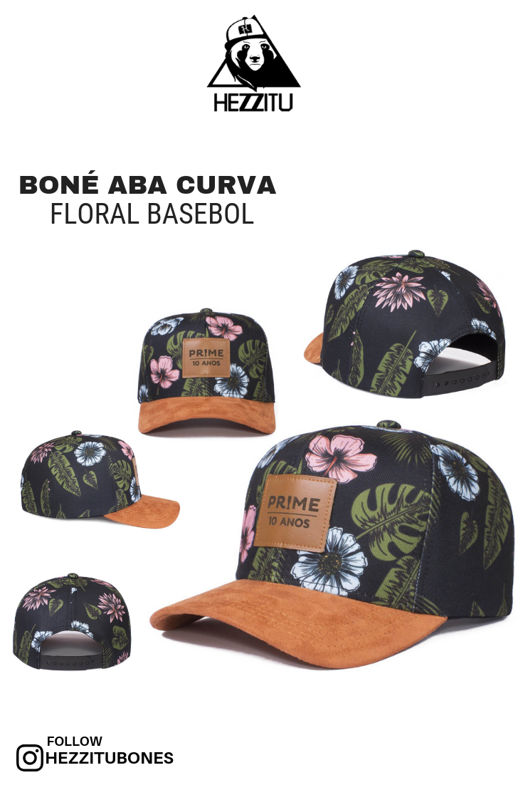 Boné aba curva floral basebol Descrição  Boné aba curva floral sublimado 0fd5fc03d0f