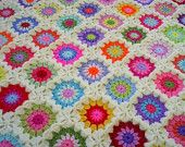 the granny stripes and squares colorful blanket por handmadebyria