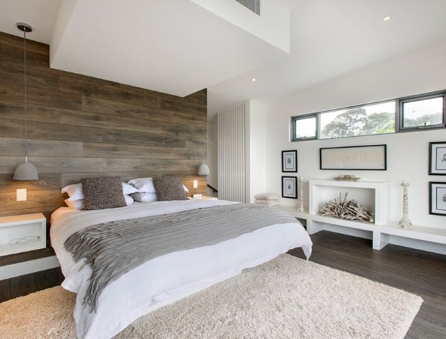 Master Bedroom With Wood Feature Wall Home Ideas