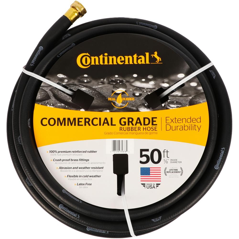 Continental Premium 5 8 In Dia X 50 Ft Commercial Grade Rubber Black Water Hose 20258074 The Home Depot In 2020 Water Hose Black Water Commercial Landscaping