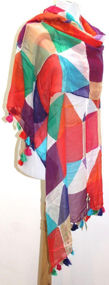 New Kate Spade New York  Pueblo Tiles  Colorful Scarf Wrap Shawl