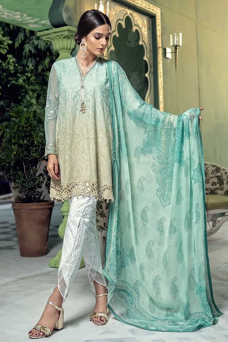e86a212d2a9 Embroidered green formal wear eid dress by Maria B pret  springcollection   spring  readytowear  pretwear  unstitched  online  linen  lawncollection   linen ...