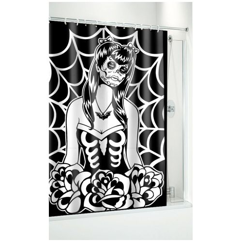Day Of The Dead Webbed Girl Shower Curtain By Sourpuss Girls