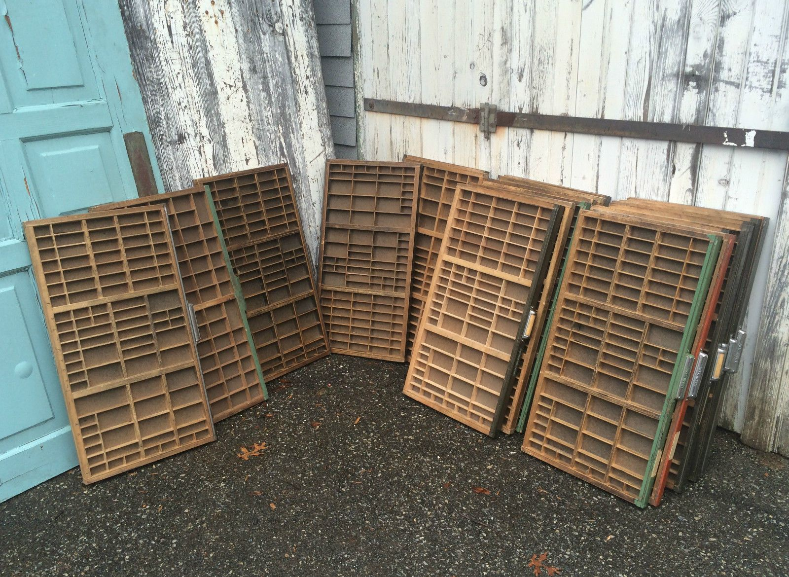 Vintage Printers Cabinet Type Set Letterpress Wood Wooden Printing Tray Drawer Ebay Printer