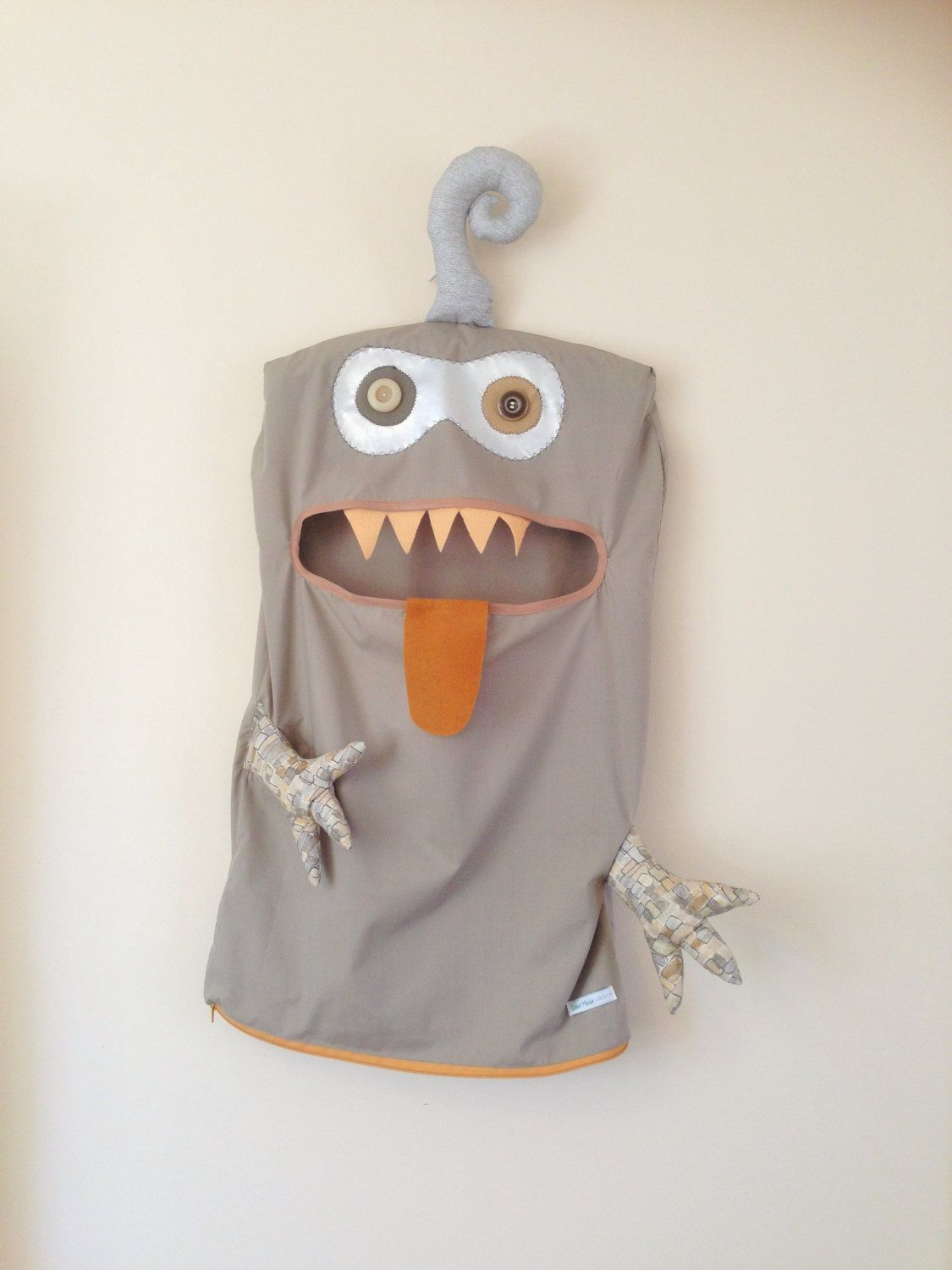 Monster Laundry/Toy Bag, Splendid Mocha, Grey & Brown 2 Eyed Friendly Monster, I'm a Pet, Bag, dress Up, Softie, gift, boys, girls, by ColourMeldDesigns on Etsy