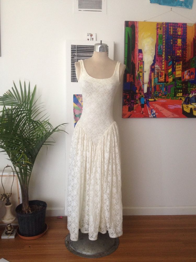 Betsey Johnson True Vintage Open Back White Lace Dress Punk