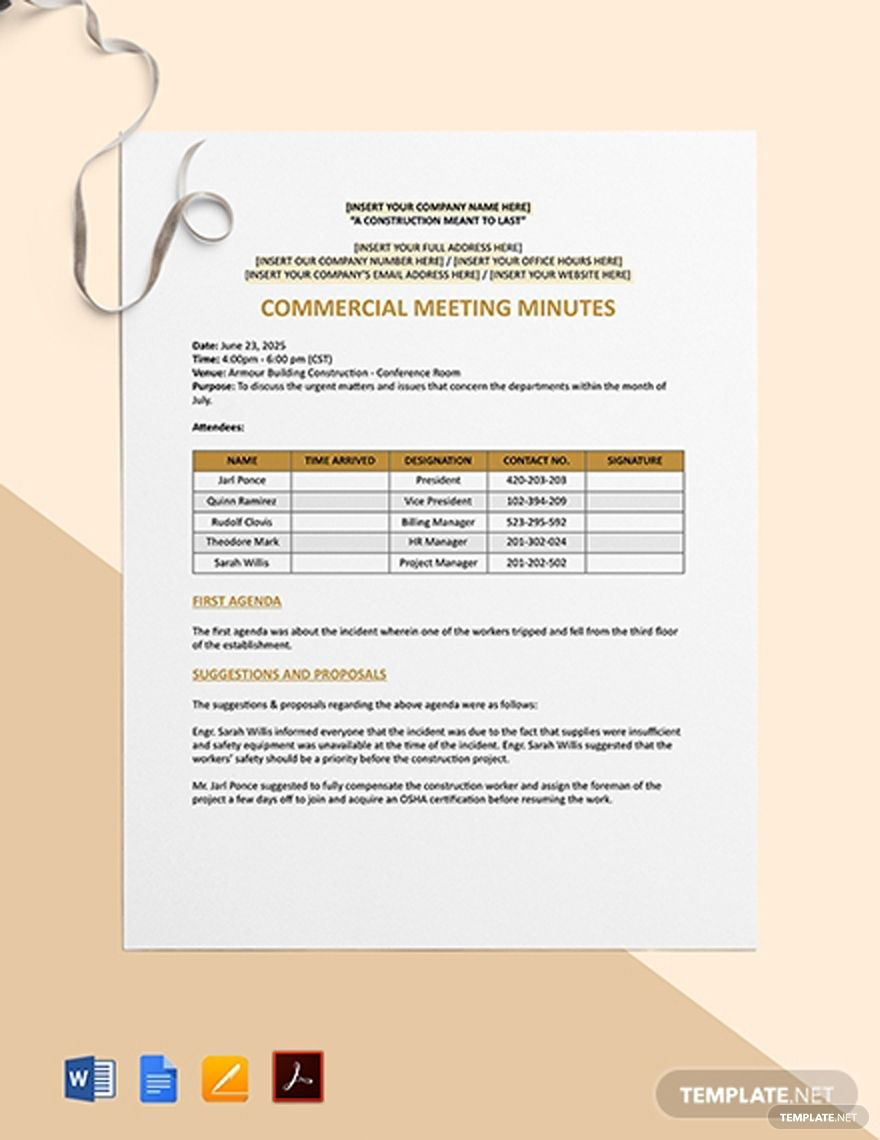 Commercial Construction Meeting Minutes Templates Commercial