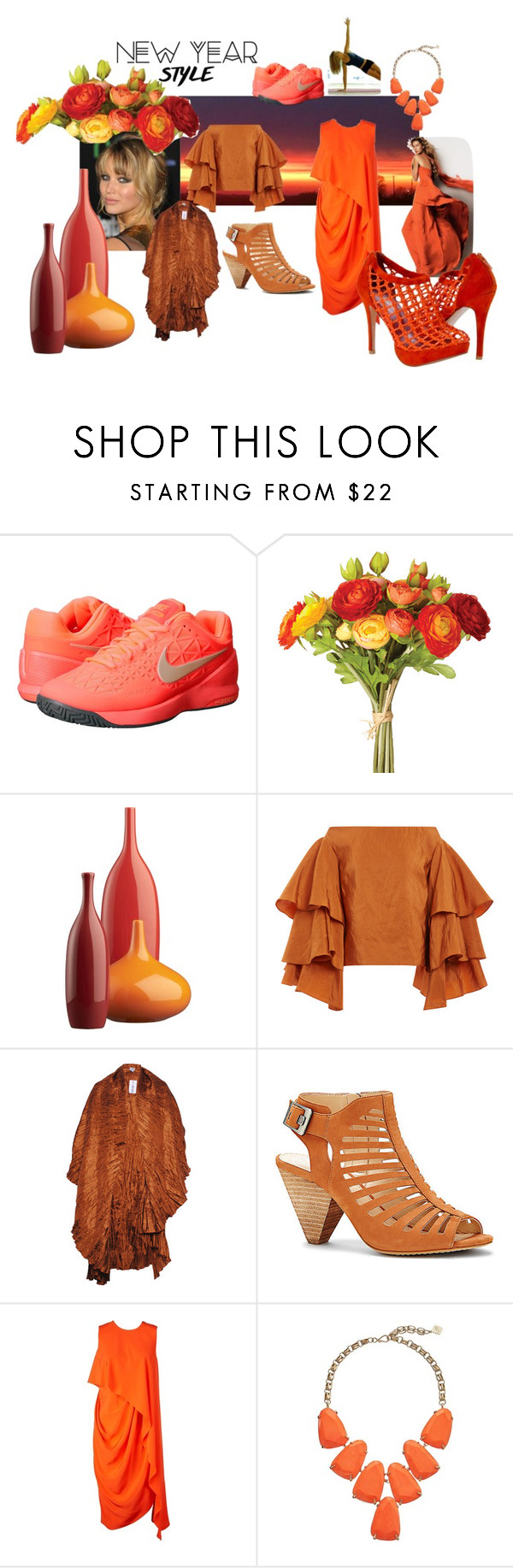 """""""orange new year"""" by srlangley on Polyvore featuring NIKE, OKA, CB2, Rosie Assoulin, Vince Camuto, Kenzo and Kendra Scott"""