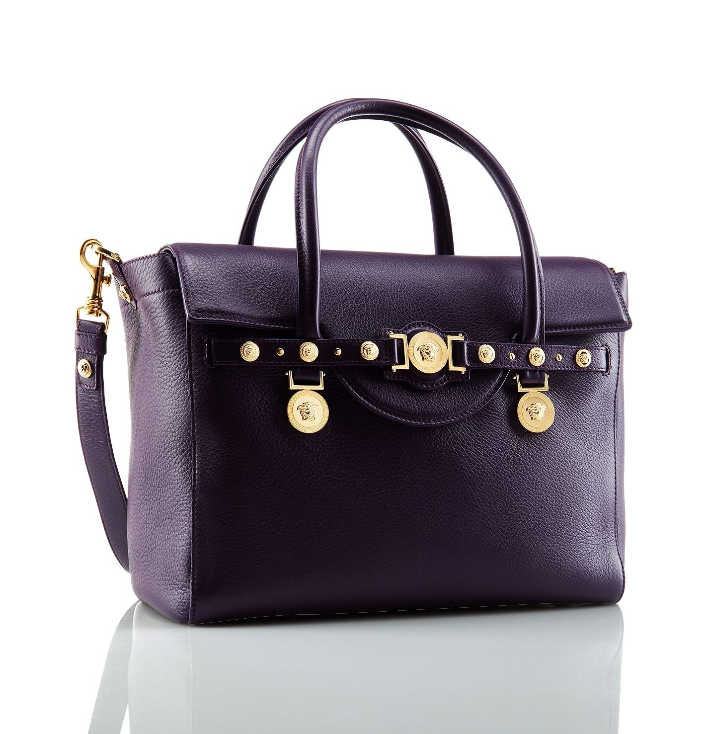 A Large Deep Purple Signature Bag Versacesignaturebag Versace