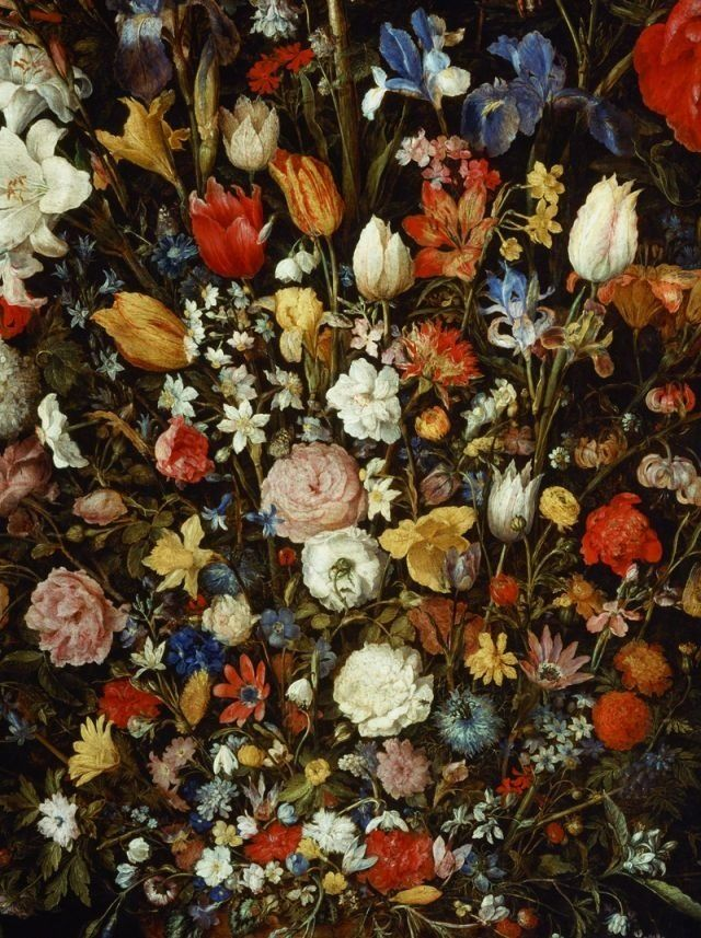 Jan Brueghel the Elder: Jan Brueghel the Elder. Flowers in a Wooden Vessel, 1607. Isn't it unbelievable?